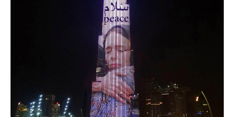 Trình diễn ánh sáng tại burj khalifa